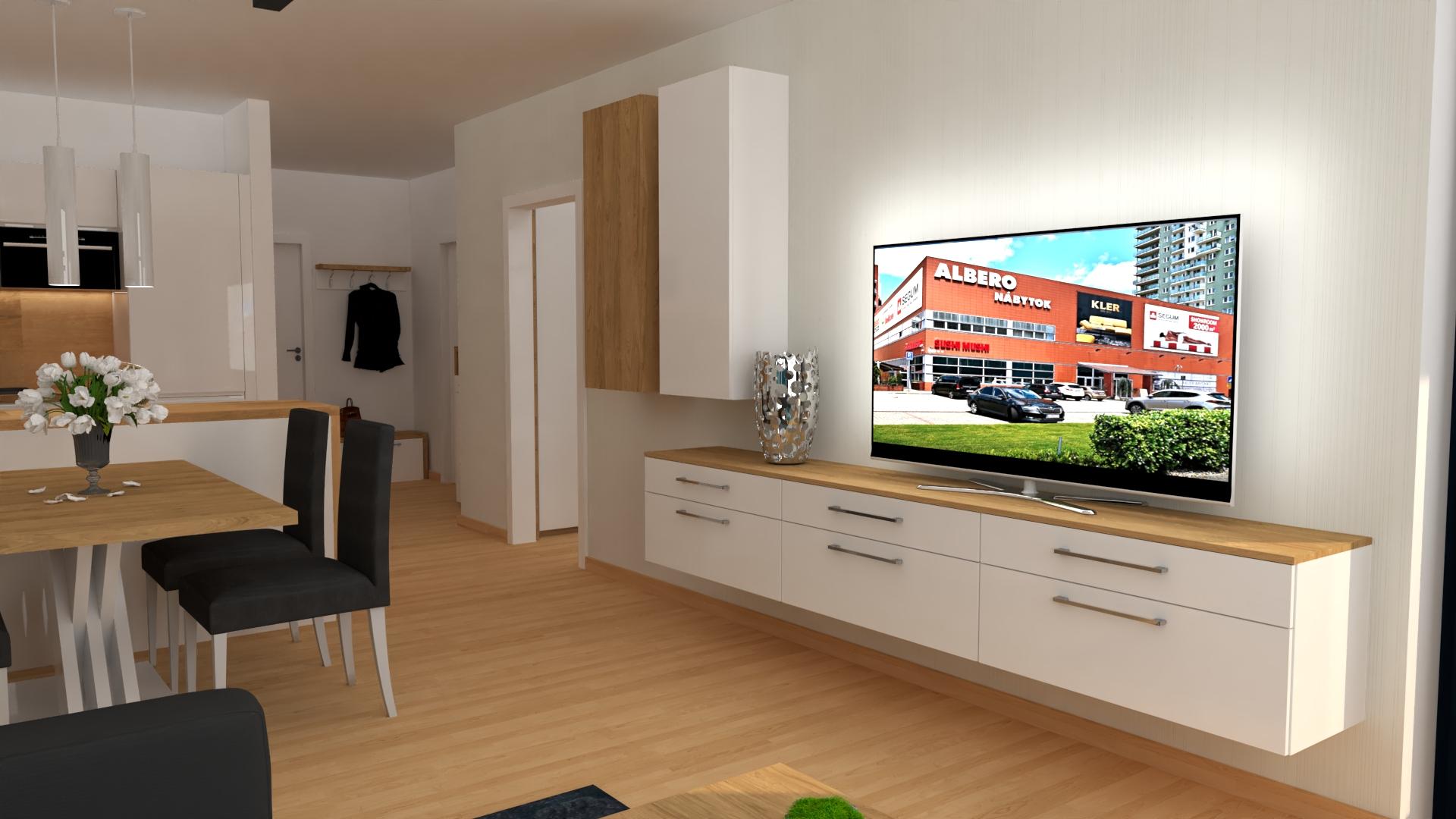 3D vizualizácia obývačky s kuchyňou, chodbou a spálňou