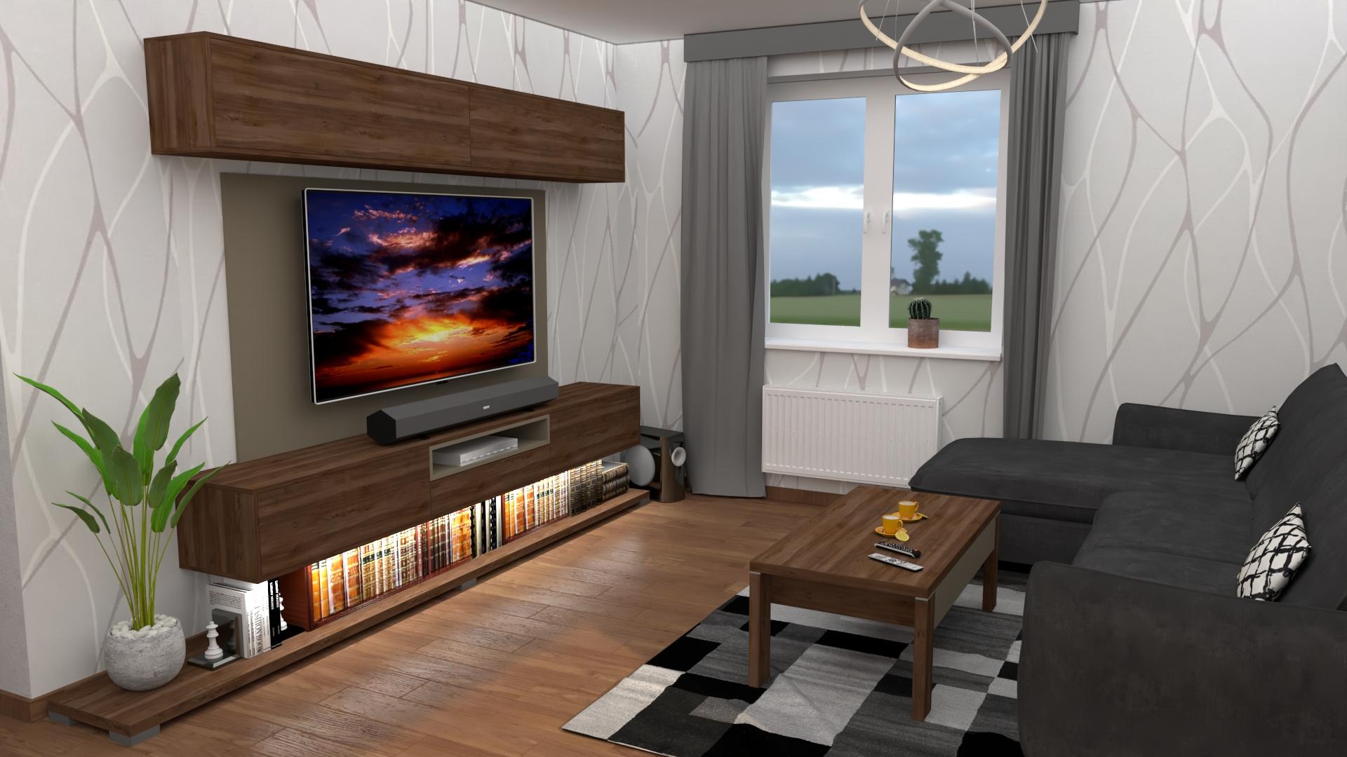 3D vizualizácia obývačka pre mladých
