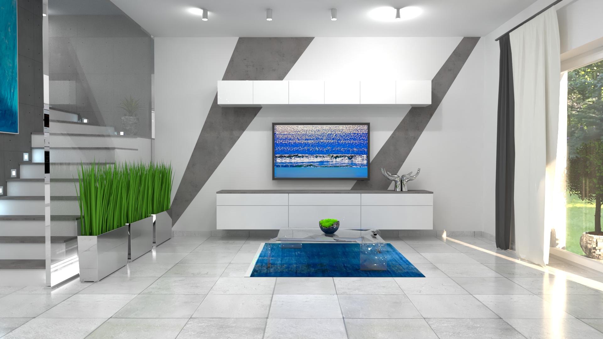 3D vizualizácia obývačky s kuchyňou v modernom dome