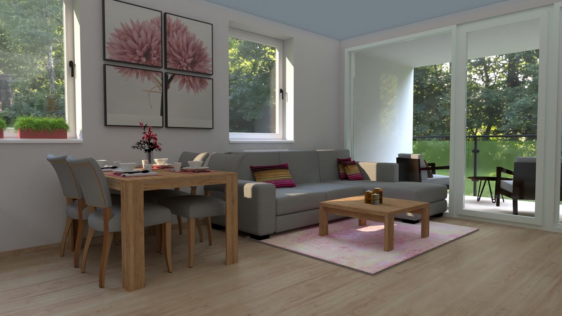 3D vizualizácia otvoreného priestoru v byte