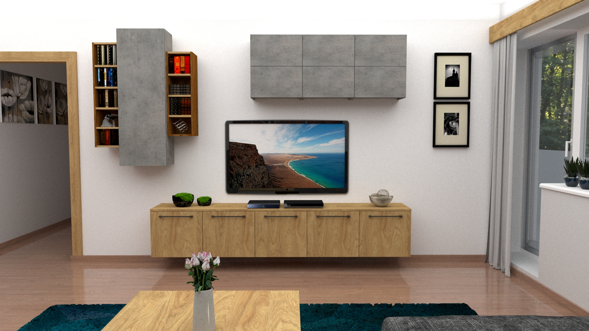 3D vizualizácia obývačky v byte