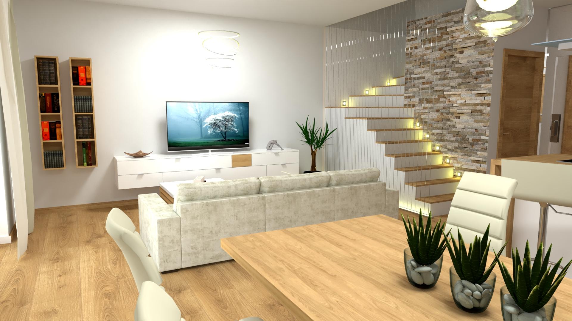 3D vizualizácia otvorený priestor v rodinnom dome